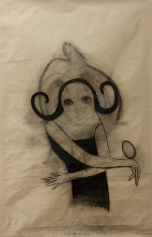 Carmen La griega. La niña del huevo. 2012. Carbón s. papel de estraza. 163x104cm