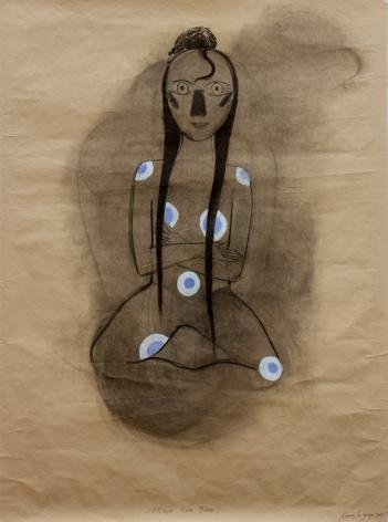 Carmen La griega. Mujer rataI (blue). Carbón y pastel s. papel de estraza. 141x104cm