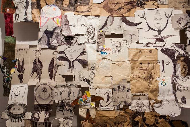 María Bueno. Capilla Septina,blog. (detalle) 2015. Técnica mixta s. papel. 531 x 254 cm